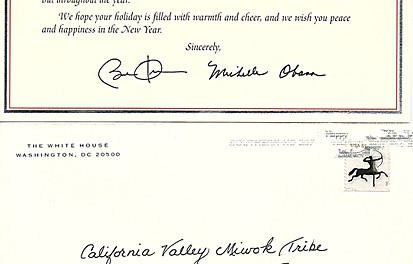 The White House Sends Happy Holidays to the California Valley Miwok Tribe