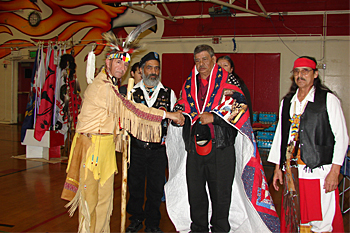"""The San Joaquin Native American Veterans Lodge has had the opportunity to share the vision of the """"Quilts of Valor"""" initiated by the """"Women of the Oakland Indian Center"""""""