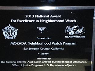 Morada Neighborhood Watch Program Honored With 2013 National Award