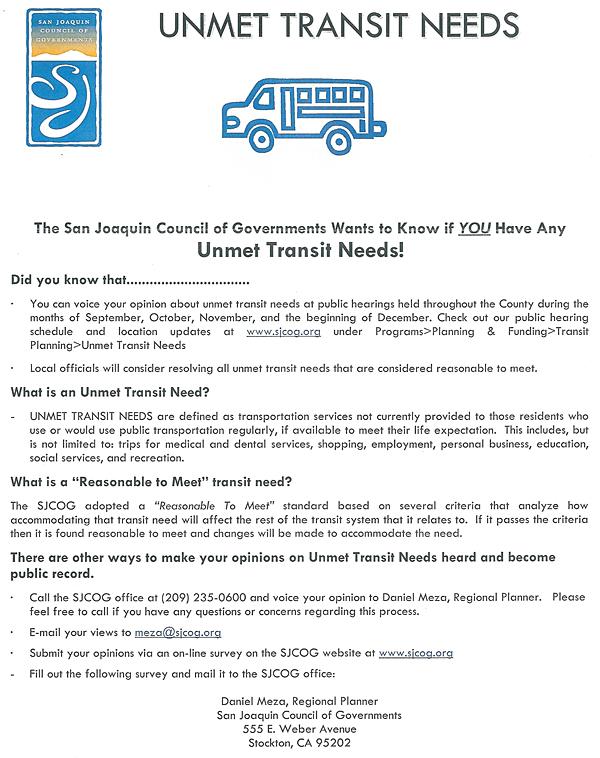 San Joaquin Council of Governments (SJCOG) – Unmet Transit Needs