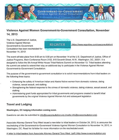 U.S. Dept. of Justice – Violence Against Women Consultation, Set For Nov. 14, 2013