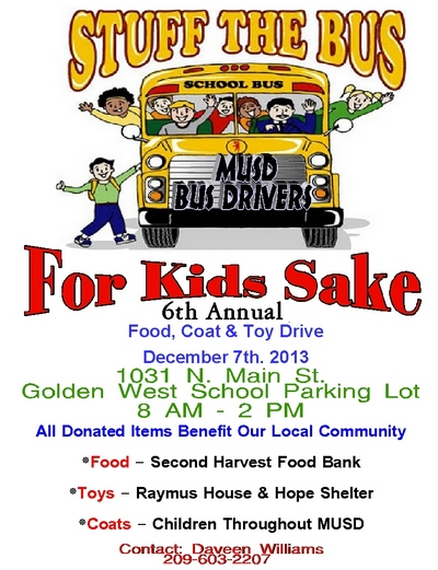 6th Annual MUSD Bus Drivers Stuff The Bus For Kids Sake - Food, Coat & Toy Drive