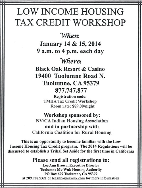 New Opportunities For Calif. Tribes - Low Income Housing Tax Credit Workshop