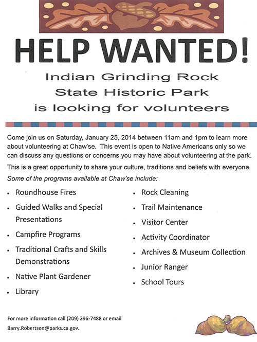 Native American Volunteers Needed at the Chaw'se Indian Grinding Rock State Historic Park