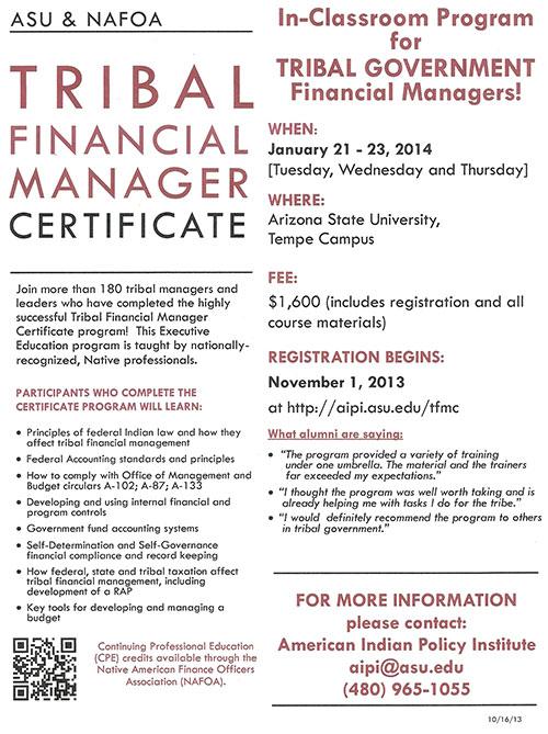 Arizona State University & NAFOA Tribal Financial Manager Certificate Program