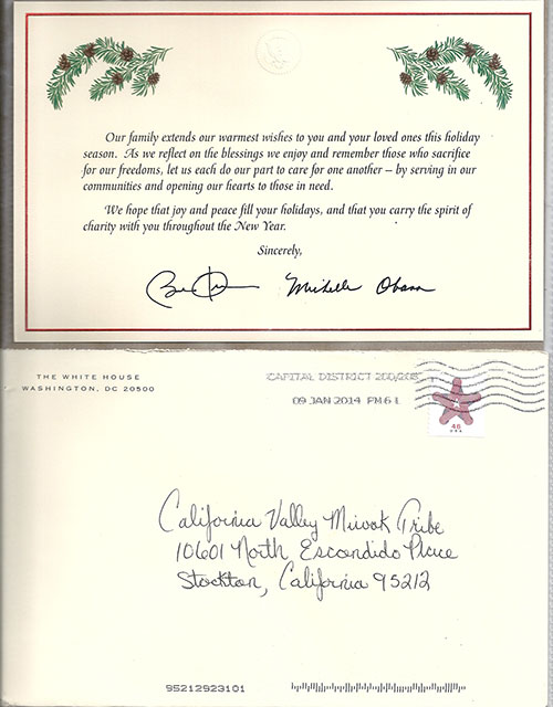 The California Valley Miwok Tribe Received a Greeting Card from The White House