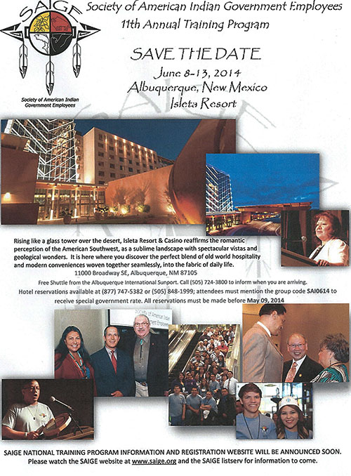 Society of American Indian Government Employees (SAIGE) 11th Annual Training Program