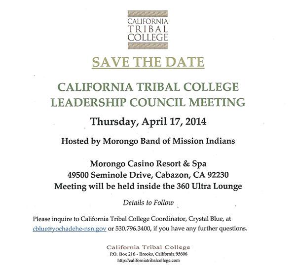 SAVE THE DATE - California Tribal College Leadership Meeting