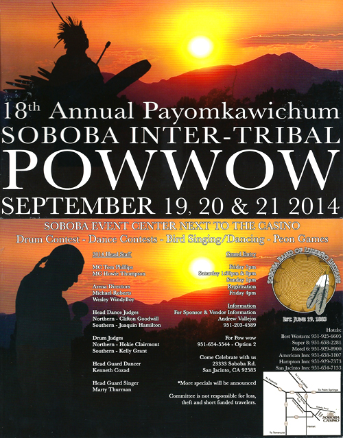 18th Annual Payomkawichum Soboba Inter-Tribal Pow Wow – Sept. 19, 20 & 21, 2014