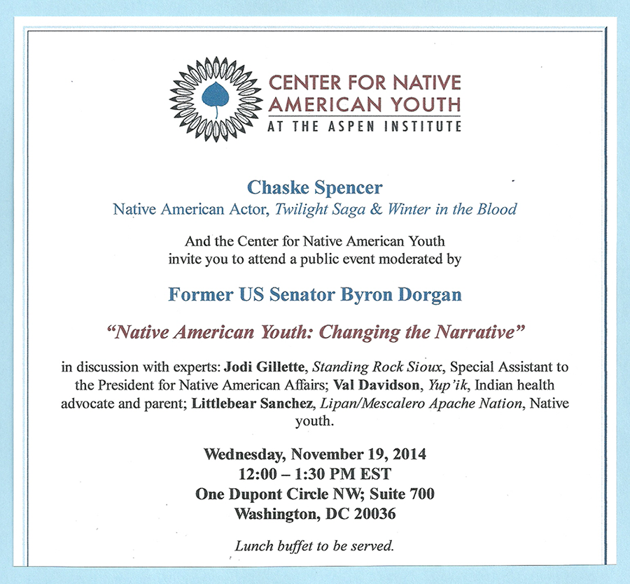 """""""Native American Youth: Changing the Narrative"""" Lunch Event, Nov 19th, 2014, in Washington, DC"""