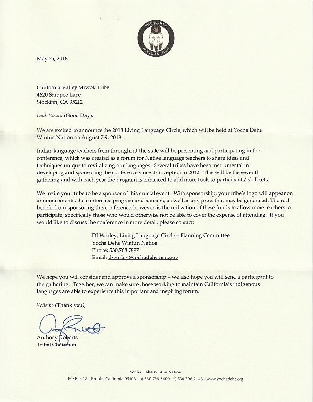 California Valley Miwok Tribe receives linguistics notice
